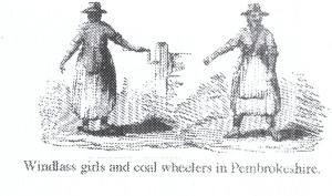 Pembrokeshire Women on Windlass (from 1842 Royal Commission report)