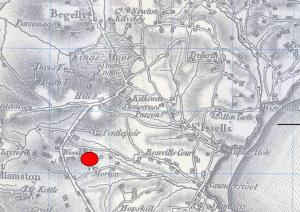 Map (surveyed abt 1815) showing site of death of Martha John at Moreton Colliery, 1847