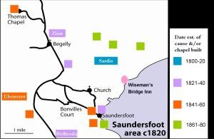 Plan of Saundersfoot area showing 19th century chapels highlighting Bethesda, Ebenezer, Sardis & Zion in particular